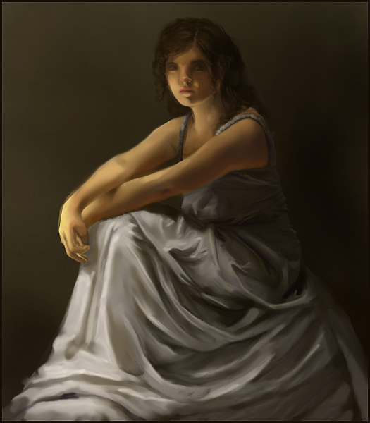 Seated girl in a draping gown.