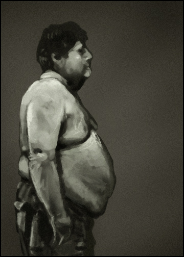 Loose study of an overweight man.