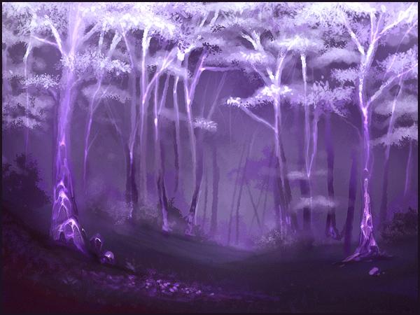 Purple glowing trees!